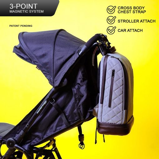 16L Mini 5-in-1 Diaper Backpack – Heather Gray Magnetic System